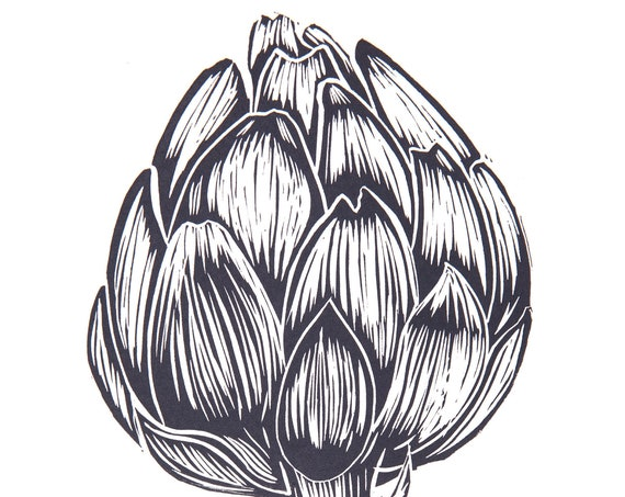 Limited Edition Lino Print Single Artichoke. Kitchen, Food and Drink, Gardening, Vegetables