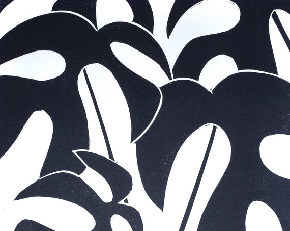 Cheese plant leaf abstract lino print, Monstera houseplant lino print, Homes & Gardens