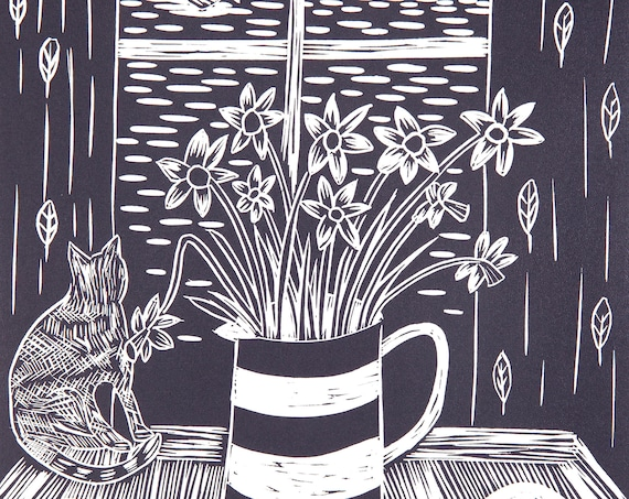 Limited Edition Lino Print 'Tea is on the Table'. Daffodils, Cornish, Cornwall, Coastal Living, Cat, Pasty, Cornishware, Mothers Day
