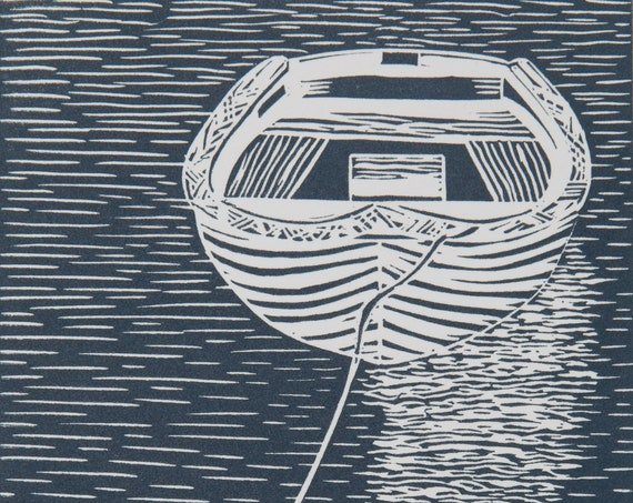 Lino Print, Small Boat at Anchor