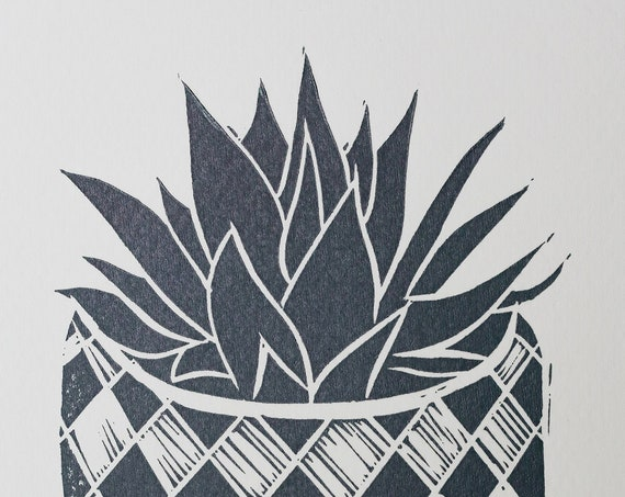 Handprinted Lino Print Greeting Card of Potted Succulent. Houseplant, gift, ceramics