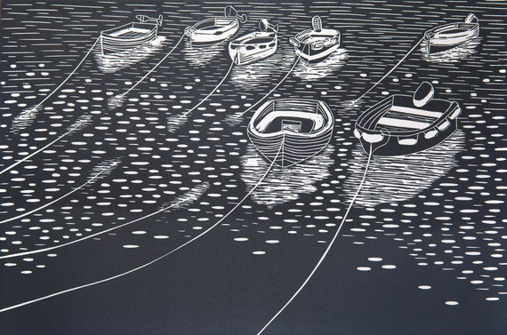 Limited Edition Lino Print, Rowing Boats, St Mawes,  Cornwall.