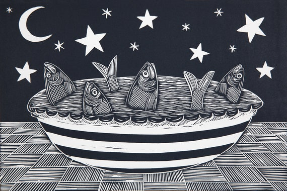 Limited Edition Lino Print of Stargazy Pie, Mousehole, Cornwall, Cornish Recipe, Christmas