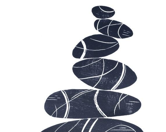 Limited Edition Linoprint of Pebble Stack, Coastal, Cornwall, Cornish