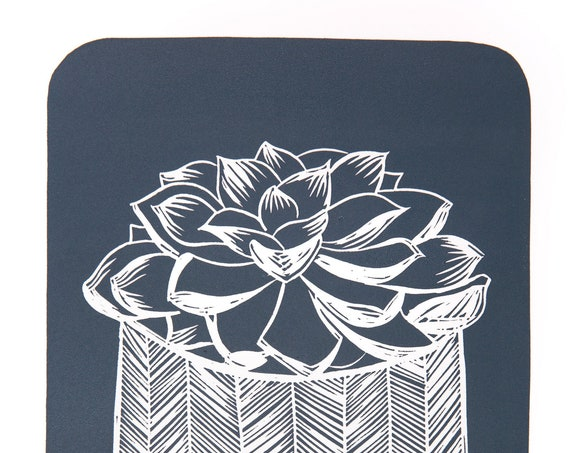 Limited Edition Lino Print 'Potted Echeveria' . Houseplant, Ceramics, Interiors