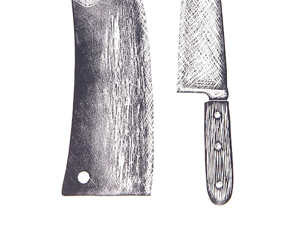 Limited Edition Lino Print Cleaver & Knife. Kitchen, Butcher, Chef, Food and Drink.