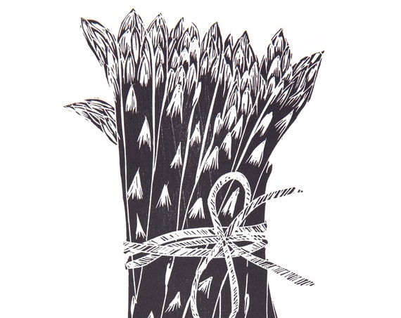 Limited Edition Lino Print of Asparagus. Allotments, Vegetables, Gardening, Food and Drink