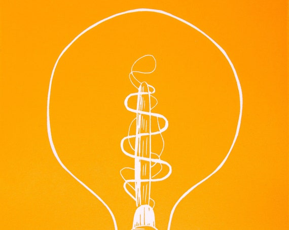 Limited Edition Lino Print 'A Bright Idea'. Lightbulb, Filament Bulb