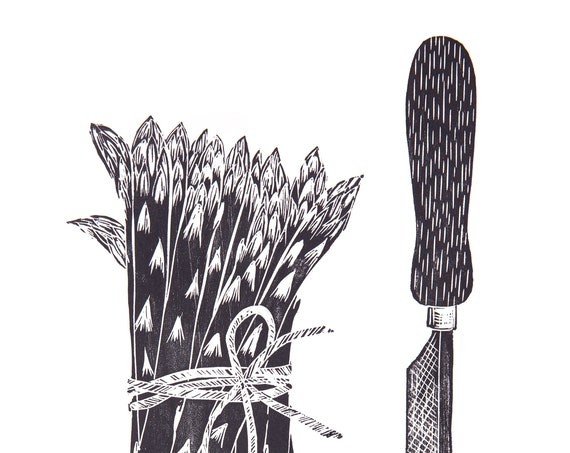 Limited Edition Lino Print Asparagus & Knife, Vegetables, Gardening, Organic, Allotments