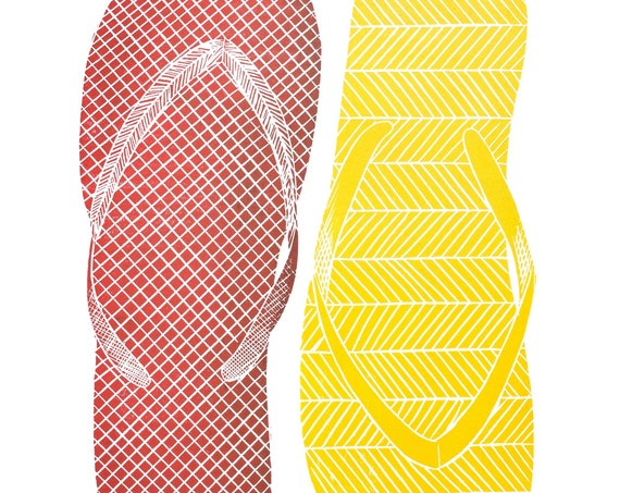 Limited Edition Linoprint of Mismatched Flip Flops. Fashion, Beach, Holidays