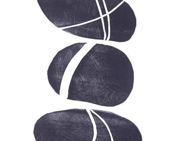 Lino Print of a Trio of Pebbles I. Interior Design, Bathroom, Coastal Living, Beach, Coast