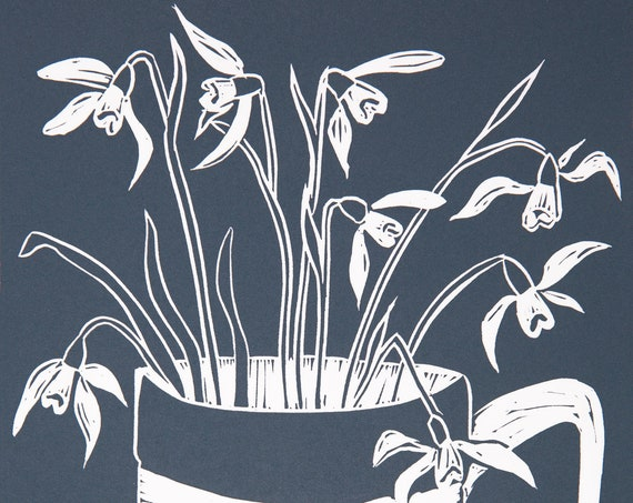 Limited Edition Lino Print 'Cornish Snowdrops'. Flowers, Cornishware, Printmaking,