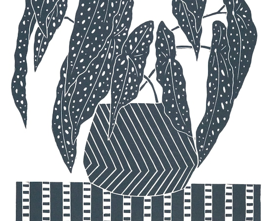 Limited Edition Lino Print of a Begonia Maculata or Polka Dot Begonia plant.  Houseplants, Interior Design, Retro, Homes, Wellbeing