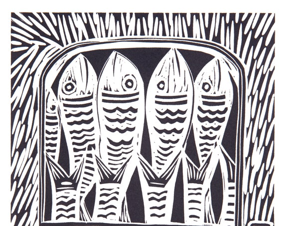 Limited Edition Lino Print of Sardines in a Tin. Coastal Living, Cornwall, Cornish, Fish, Food and Drink