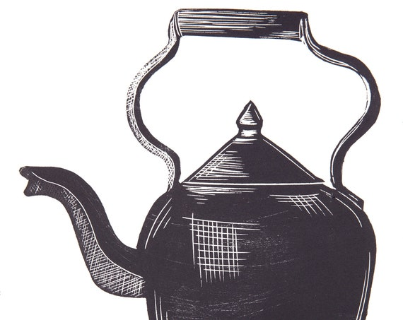 Limited Edition Lino Print 'Fancy a Brew?' Tea Lover, Kitchen, English, Vintage