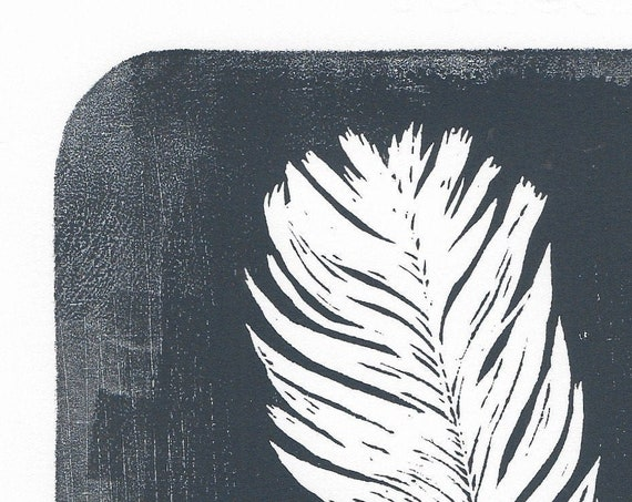Limited Edition Lino Print of a Feather. Nature, Birds, Ornithology.