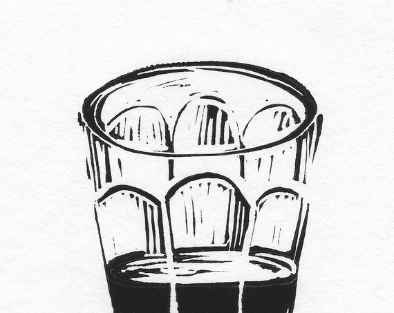 Limited Edition Lino Print of an Espresso Glass. Coffee Lover, Cafe Culture, Kitchen