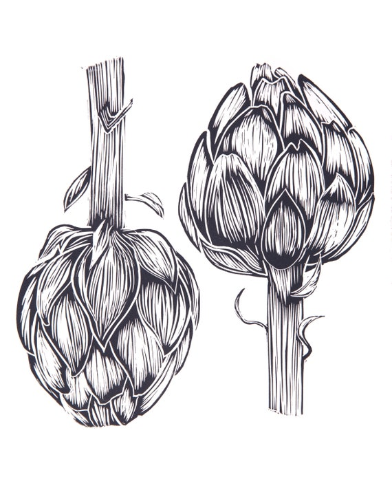 Limited Edition Lino Print pair of Artichokes. Allotments, Vegetables, Gardening, Food and Drink