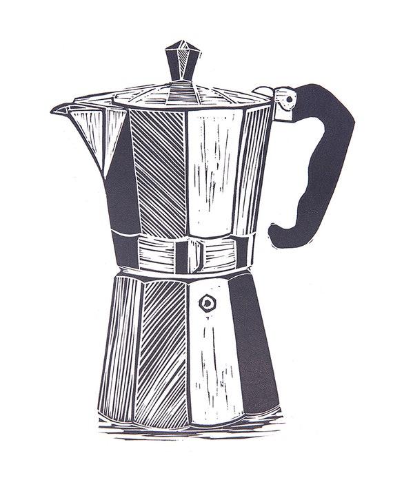 Artist Proof Lino Print of a Vintage Moka Espresso Pot. Coffee Lover, Cafe Culture, Kitchen