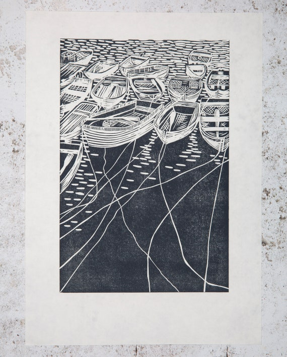 Artist Proof Lino Print All Tied Up - Dark Teal. Cornwall, Cornish, Coastal