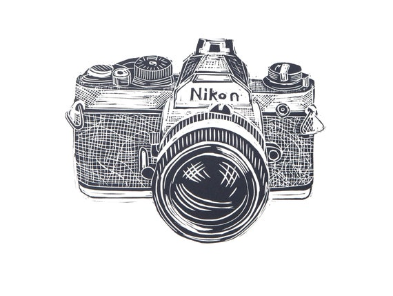 Limited Edition Lino Print of Vintage Nikon Film Camera