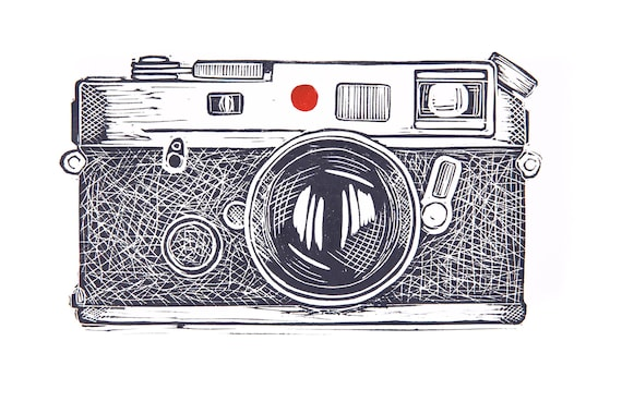 Limited Edition Lino Print Leica Camera. Photography, Film Camera, Retro, Analogue, Style