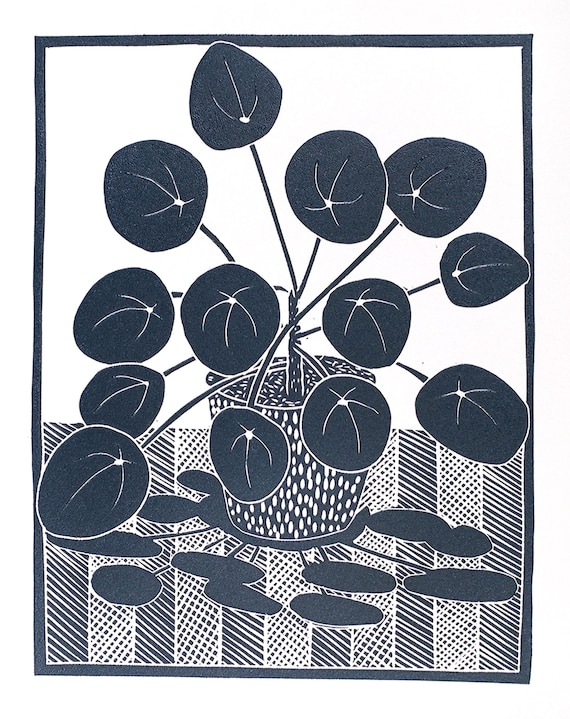 Limited Edition Lino Print of a Chinese Money Plant II . Houseplants, Interior Design, Retro, Homes, Wellbeing