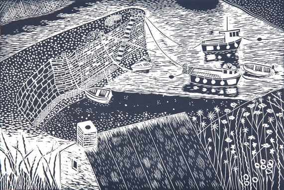 Limited Edition Lino Print of Porthgain Harbour II, Pembrokeshire, Wales, St Davids Day, Coastal Art