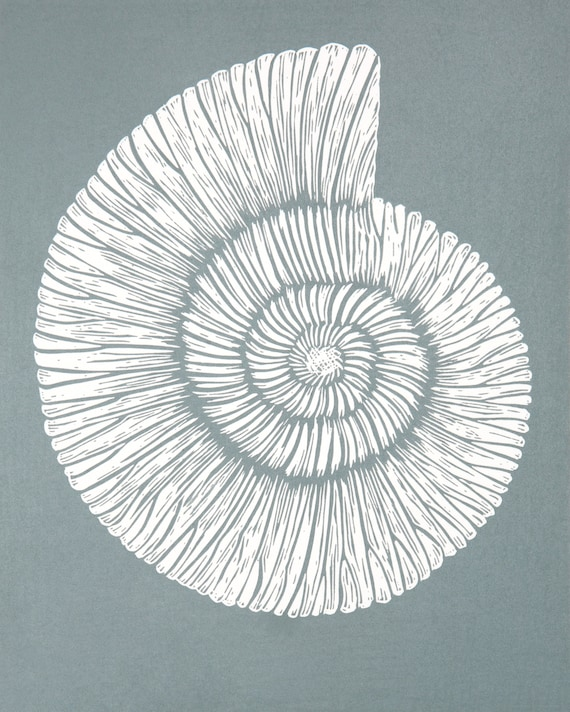 Limited Edition Lino Print of an Ammonite. Fossil, Fossil Collector, Coast, Jurassic, Dorset, Devon, Grey Print
