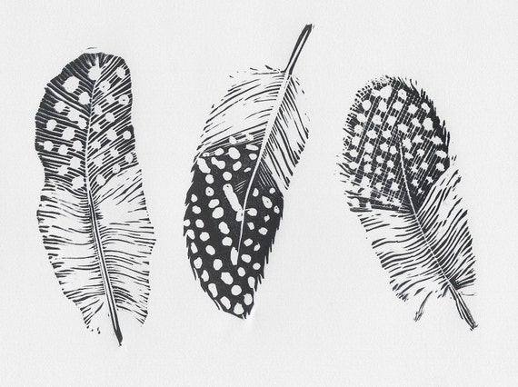 Limited Edition Lino Print of a Trio of Guineafowl Feathers. Chicken, Small Holding, Farming, Poultry