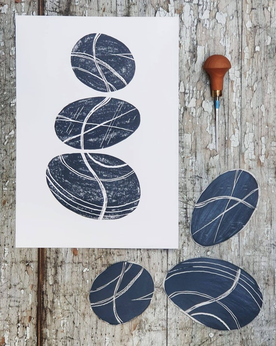 Limited Edition Lino Print of Trio of Pebbles III, Coastal, Cornwall, Devon, Norfolk.