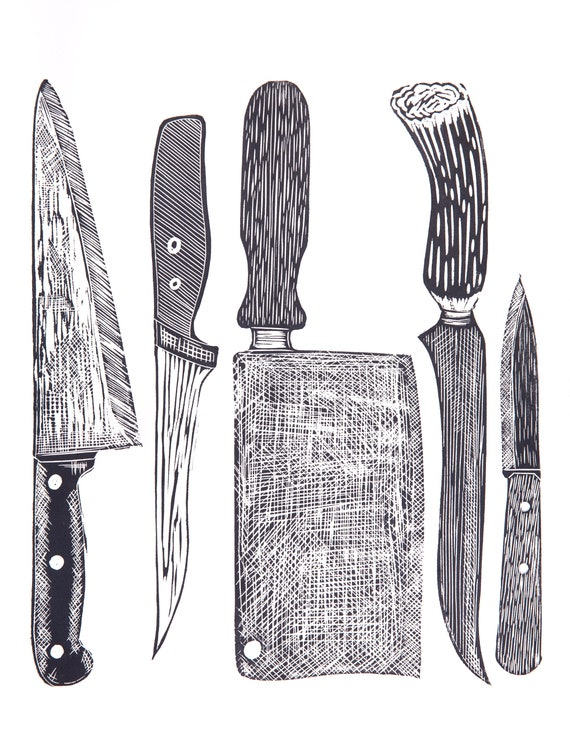 Limited Edition Lino Print Chef's Knives. Cooking, Food & Drink, Kitchen