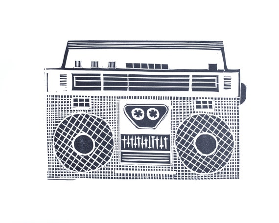 Linoprint of Ghettoblaster. Music, Retro, Hifi