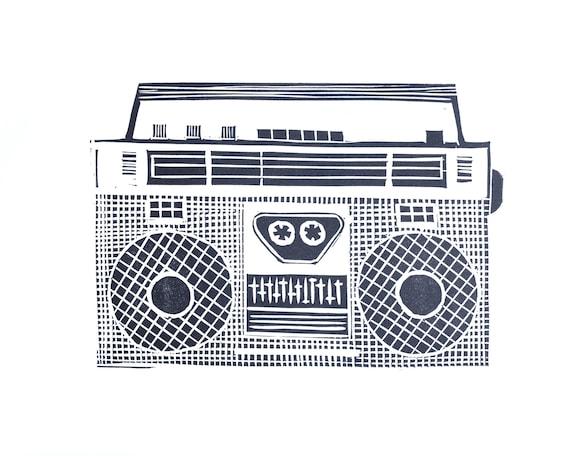 Limited Edition Linoprint of Ghettoblaster. Music, Retro, Hifi