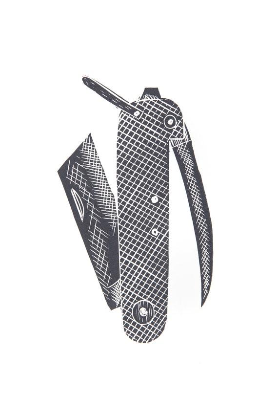 Limited Edition Lino Print 'Penknife', Military, Adventure, Handmade