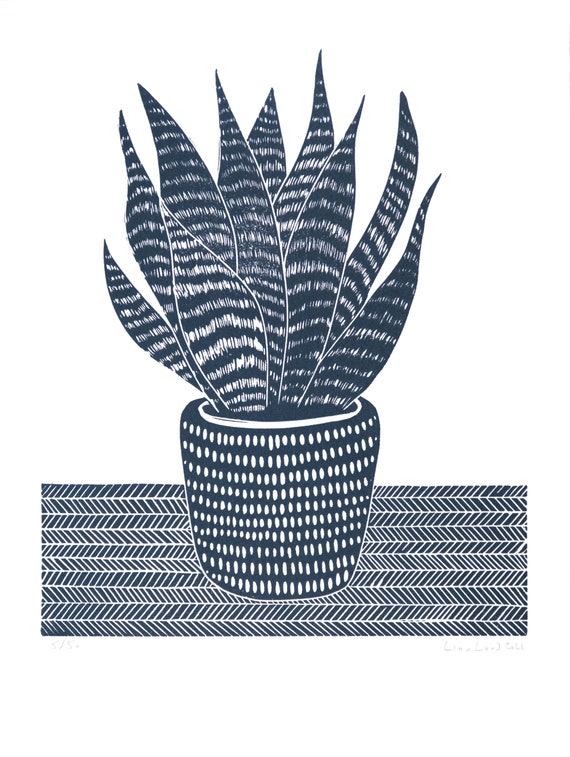 Limited Edition Lino Print of a Mother in Laws Tongue, Snake Plant.  Houseplants, Interior Design, Retro, Homes, Wellbeing
