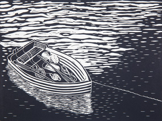 Limited Edition Lino Print, Small Rowing Boat at Anchor, Mevagissey, Cornwall, Cornish Coastal Art.