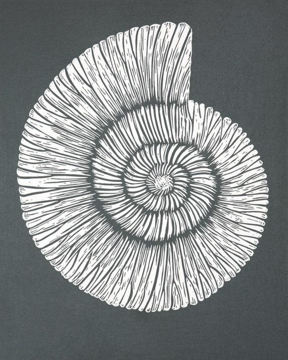 Limited Edition Lino Print of an Ammonite. Fossil, Fossil Collector, Coast, Jurassic, Dorset, Devon, Grey Print