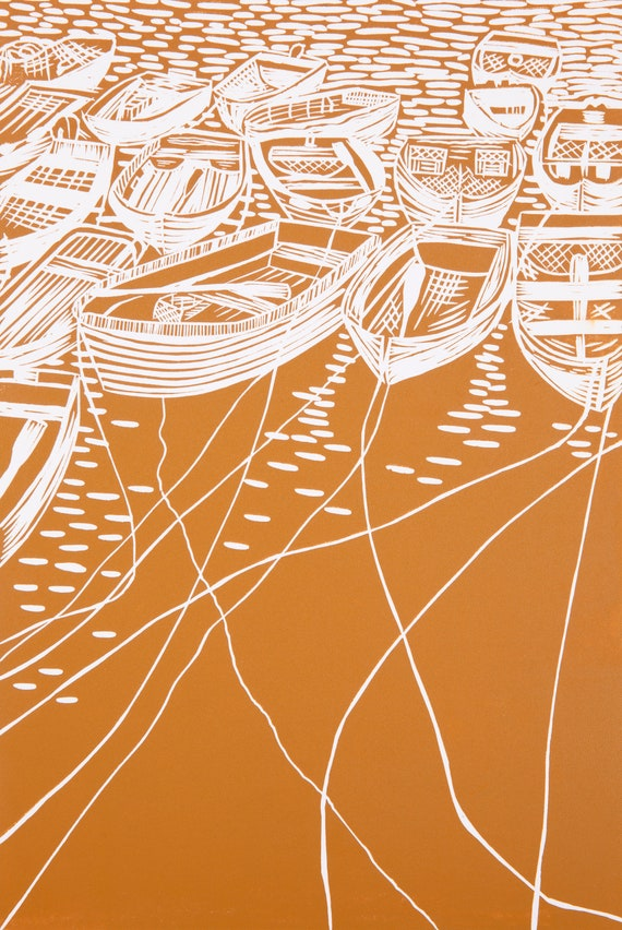 Limited Edition Lino Print 'All Tied Up - Mustard'. Mevagissey, Cornwall, Devon, Coast, Harbour