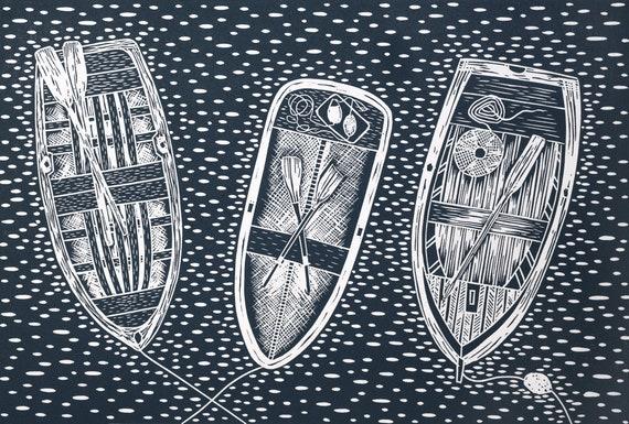 Limited Edition Lino Print, Three Old Rowing Boats, Falmouth, St Mawes, Padstow, St Ives, Cornwall, Cornish, Coastal Art