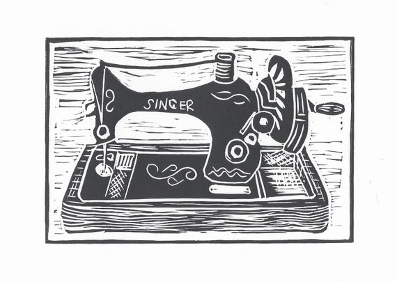 Limited Edition Lino Print of a Vintage Singer Sewing Machine. Fashion, Clothing