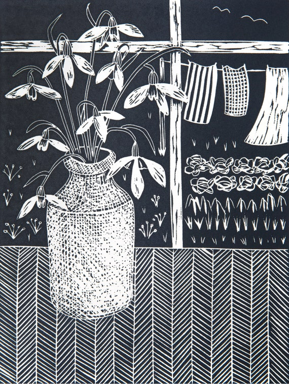 Limited Edition Lino Print of Snowdrops on a Table by Window. Flowers, Garden, Printmaking, Mothers Day