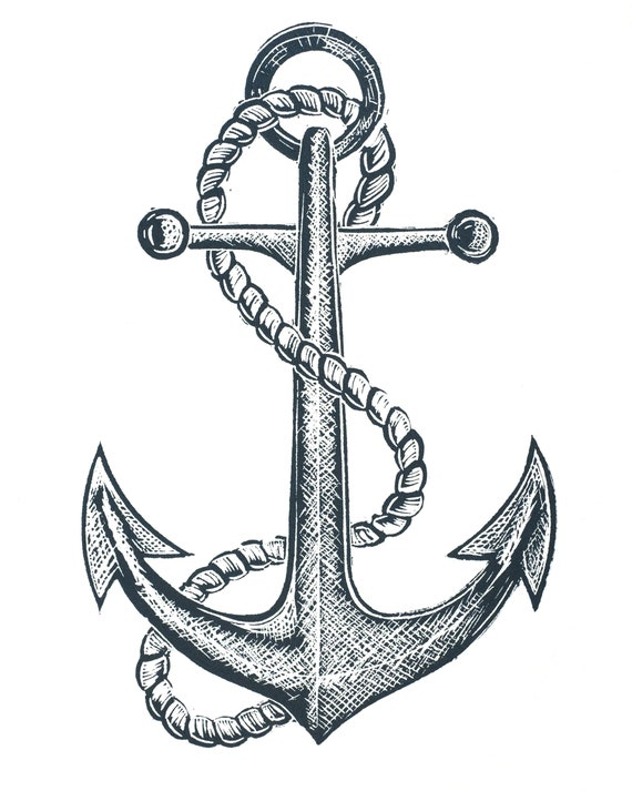 Lino print of an old ships anchor, nautical, seafaring, sailing, coastal art, Cornwall, Devon, Norfolk, Penbrokeshire