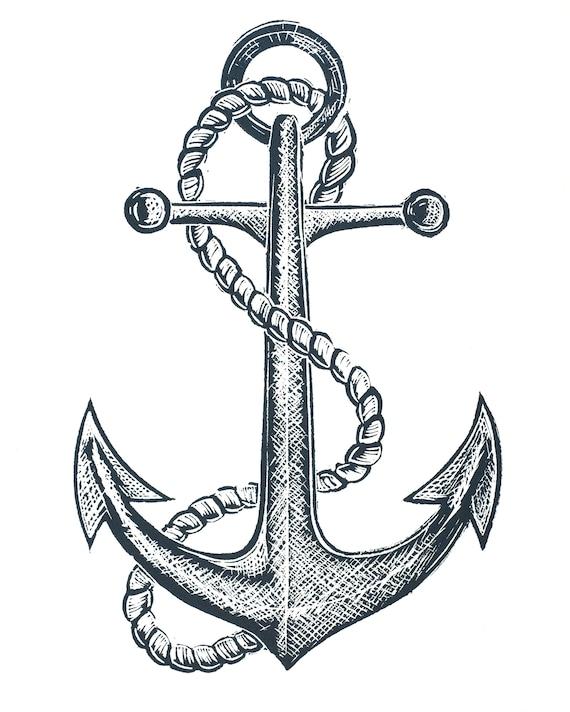 Lino print of an old ships anchor, nautical, seafaring, sailing, coastal art, Cornwall, Devon, Norfolk, Penbrokeshire