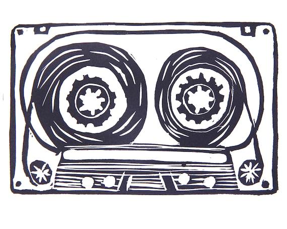 Lino Print of a Cassette Tape. Music, Retro, Hifi, Audio