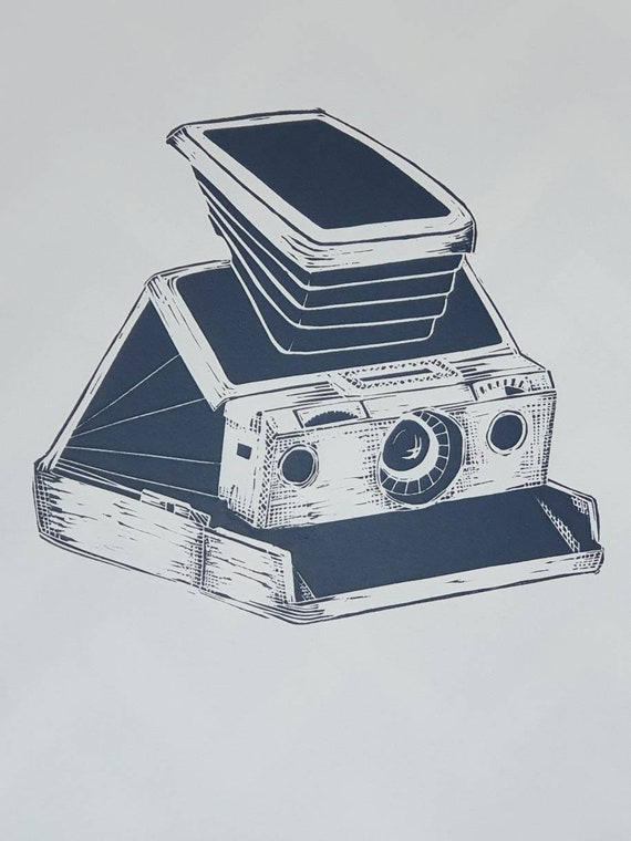 Limited Edition Lino Print of Polaroid SX70 camera. Photographer, Photography, Retro, Analogue, Film