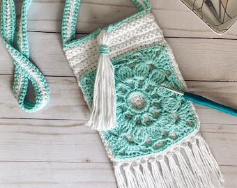 Crochet Pattern, Boho Crochet, Crochet Purse, Crochet Motif, Bohemian Crochet, Boho Pattern | Day Tripper Crossbody Bag Crochet Pattern