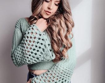 Groovy Dreams Sweater - size inclusive crochet pattern XS - 5X, modern crochet pattern, 70's inspired, crop top pattern