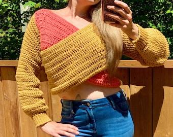 Modern Crochet Top Pattern, Crochet Sweater Pattern, Plus Size Crochet Pattern, Size Inclusive, Fall Crochet Pattern | Meraki Crop Sweater