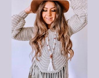 Felicity Sweater Crochet Pattern | Boho style, Modern, Crochet Top, size inclusive, worsted weight yarn, lambent crochet, sweater pattern